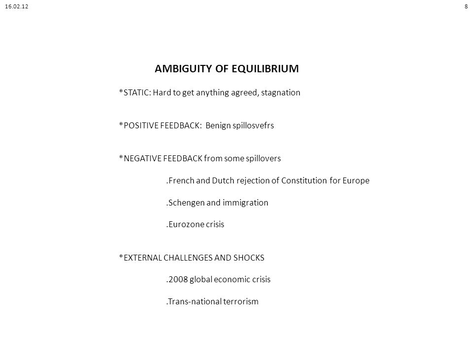 AMBIGUITY OF EQUILIBRIUM *STATIC: Hard to get anything agreed, stagnation *POSITIVE FEEDBACK: Benign spillosvefrs *NEGATIVE FEEDBACK from some spillovers.French and Dutch rejection of Constitution for Europe.Schengen and immigration.Eurozone crisis *EXTERNAL CHALLENGES AND SHOCKS.2008 global economic crisis.Trans-national terrorism 16.02.128
