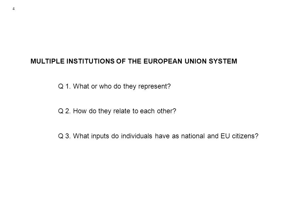 MULTIPLE INSTITUTIONS OF THE EUROPEAN UNION SYSTEM Q 1.