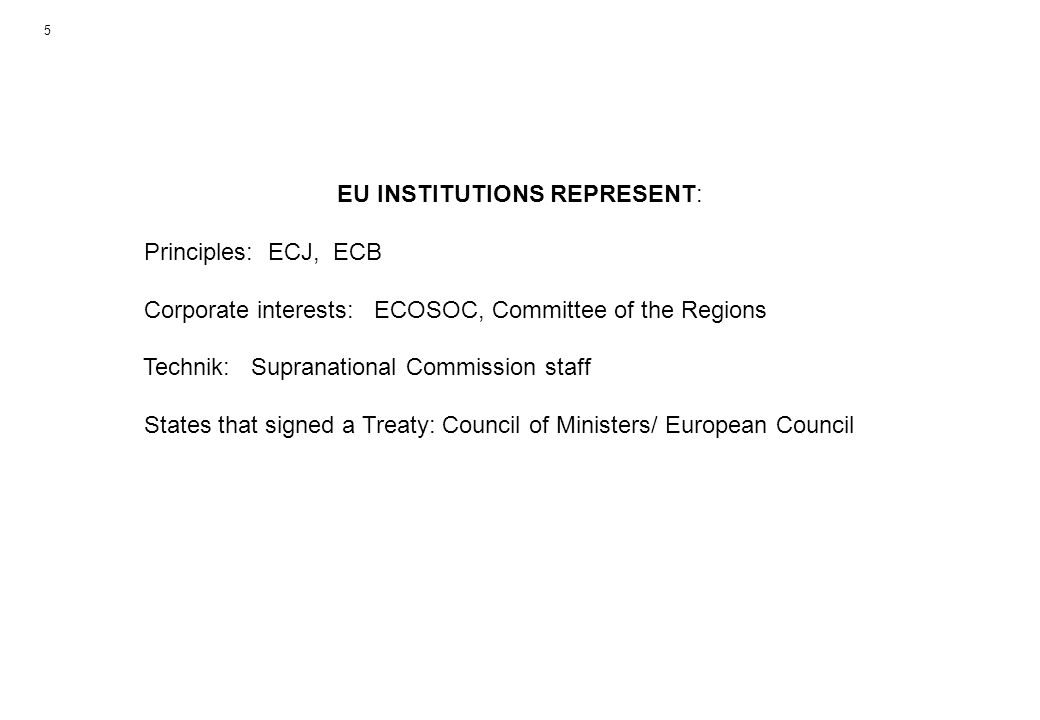 EU INSTITUTIONS REPRESENT: Principles: ECJ, ECB Corporate interests: ECOSOC, Committee of the Regions Technik: Supranational Commission staff States that signed a Treaty: Council of Ministers/ European Council 5