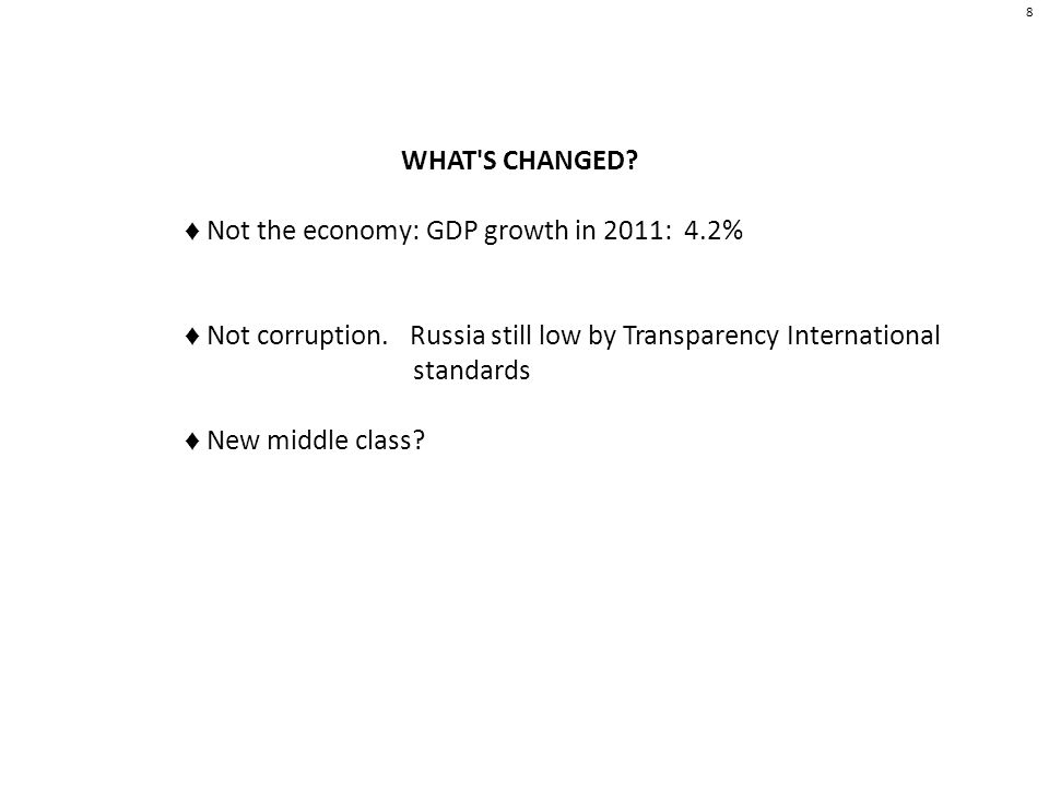 8 WHAT S CHANGED. Not the economy: GDP growth in 2011: 4.2% Not corruption.