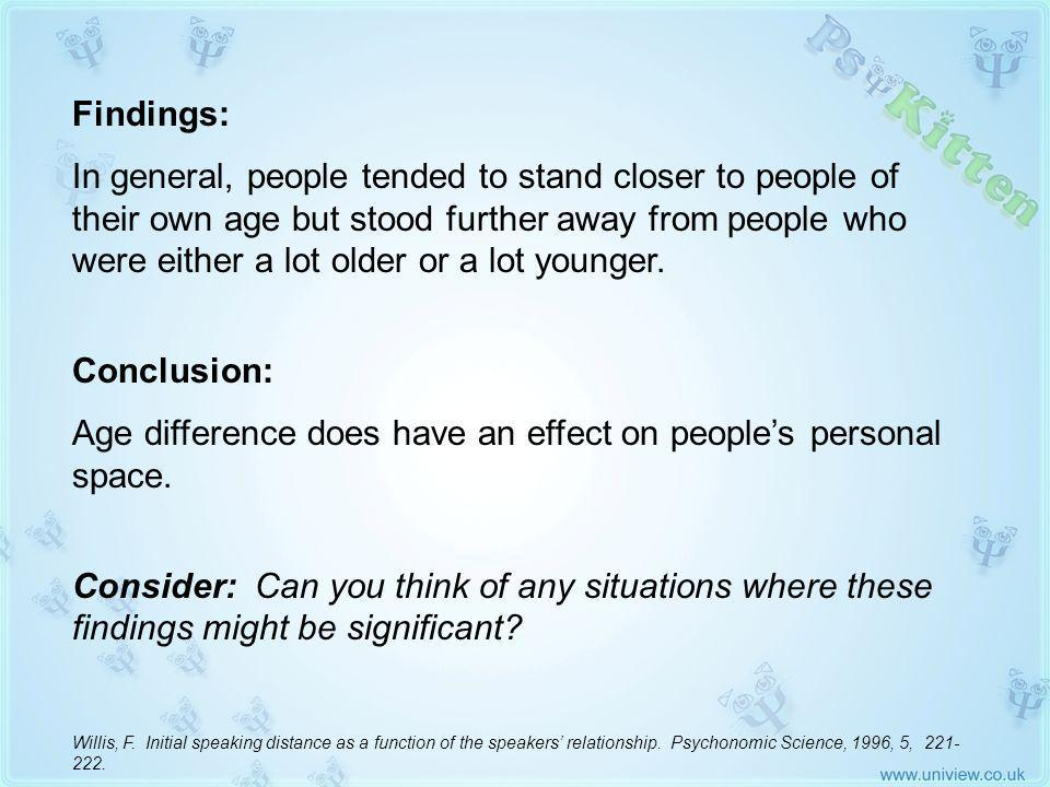Willis 1996 (2) Findings: In general, people tended to stand closer to people of their own age but stood further away from people who were either a lot older or a lot younger.