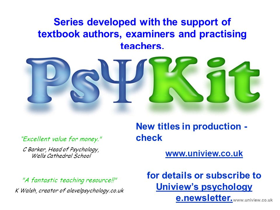 Series developed with the support of textbook authors, examiners and practising teachers. Closing Screen www.uniview.co.uk Excellent value for money.
