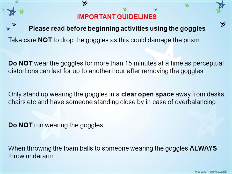 Important Guidelines IMPORTANT GUIDELINES Please read before beginning activities using the goggles Take care NOT to drop the goggles as this could da