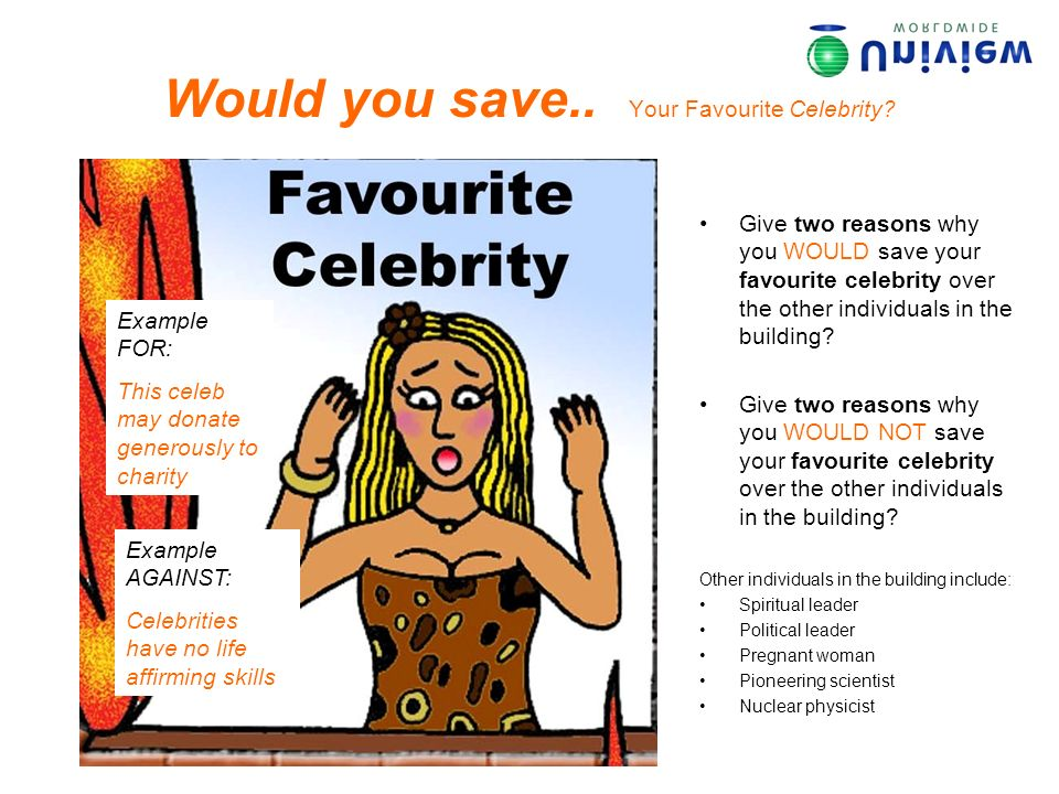 Would you save.. Your Favourite Celebrity? Give two reasons why you WOULD save your favourite celebrity over the other individuals in the building? Gi