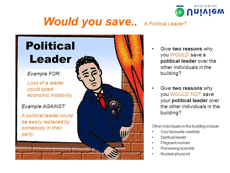Would you save.. A Political Leader? Give two reasons why you WOULD save a political leader over the other individuals in the building? Give two reaso