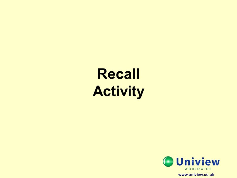Recall Activity www.uniview.co.uk