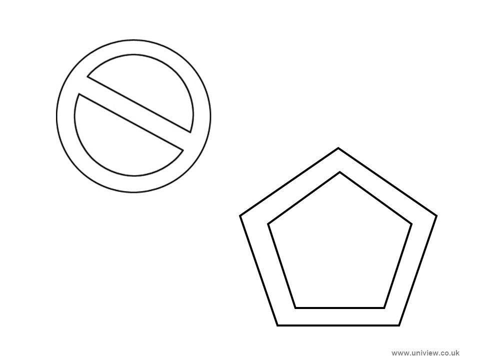 Circle with line through and Pentagon – print out www.uniview.co.uk
