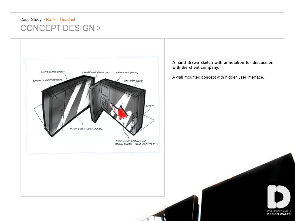 Case Study > Rafiki - Quadnet CONCEPT DESIGN > A hand drawn sketch with annotation for discussion with the client company.
