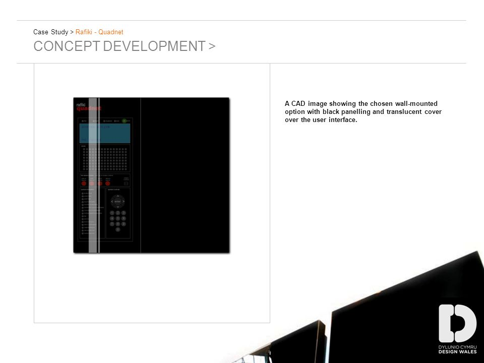 Case Study > Rafiki - Quadnet CONCEPT DEVELOPMENT > A CAD image showing the chosen wall-mounted option with black panelling and translucent cover over the user interface.