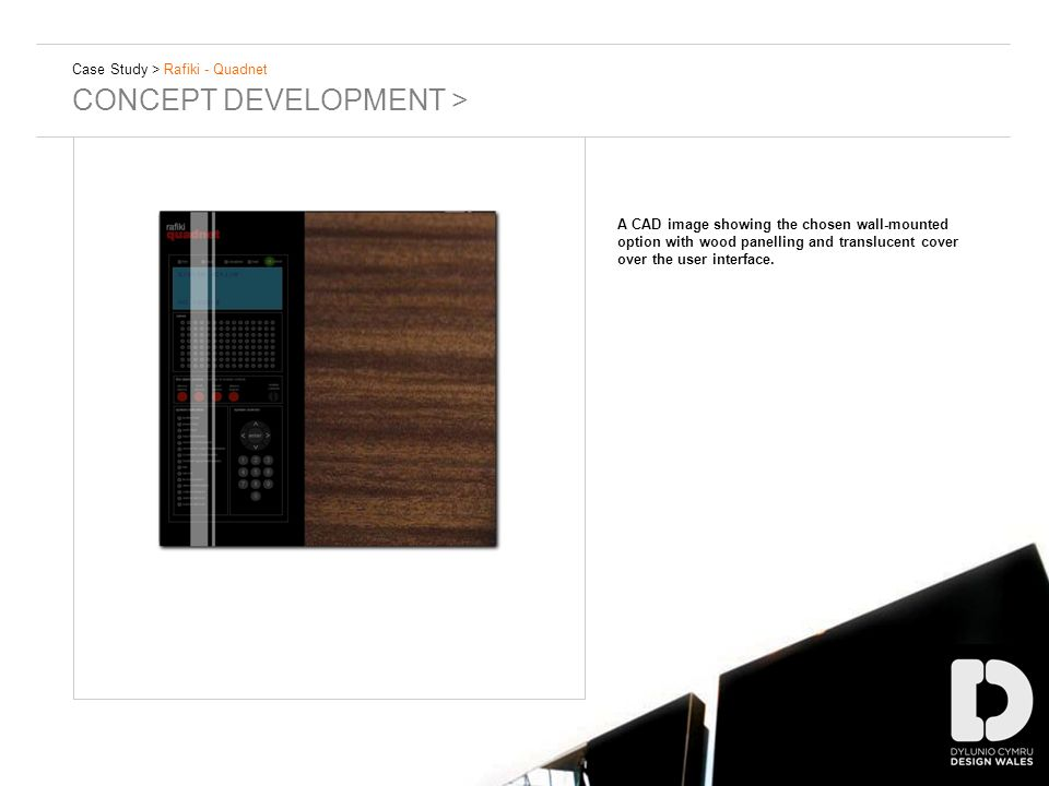 Case Study > Rafiki - Quadnet CONCEPT DEVELOPMENT > A CAD image showing the chosen wall-mounted option with wood panelling and translucent cover over the user interface.