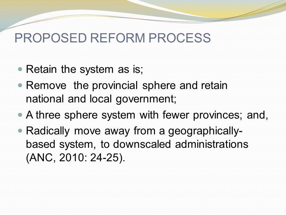 PROPOSED REFORM PROCESS Retain the system as is; Remove the provincial sphere and retain national and local government; A three sphere system with fewer provinces; and, Radically move away from a geographically- based system, to downscaled administrations (ANC, 2010: 24-25).