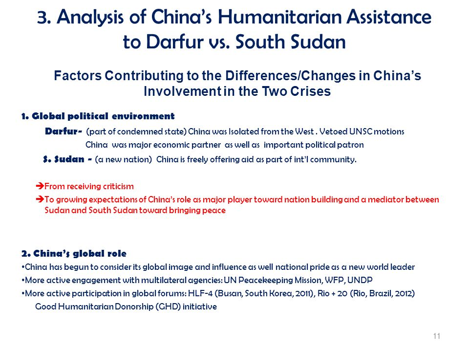 Factors Contributing to the Differences/Changes in Chinas Involvement in the Two Crises 1. Global political environment Darfur- (part of condemned sta