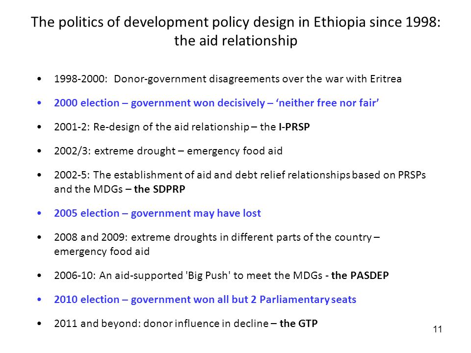 11 The politics of development policy design in Ethiopia since 1998: the aid relationship 1998-2000: Donor-government disagreements over the war with