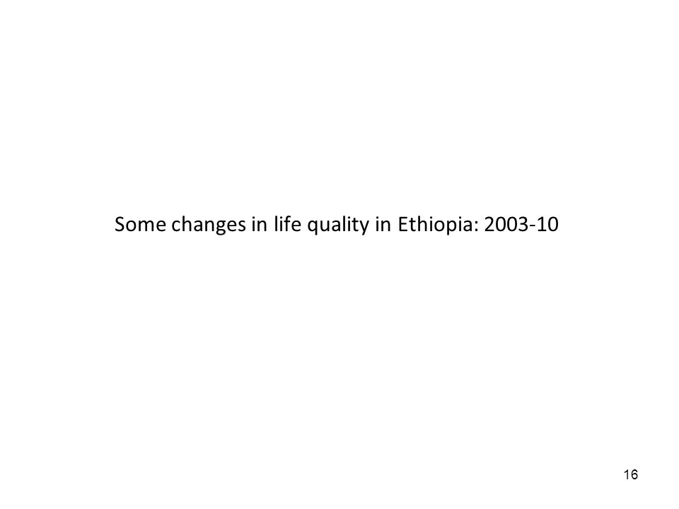 16 Some changes in life quality in Ethiopia: 2003-10
