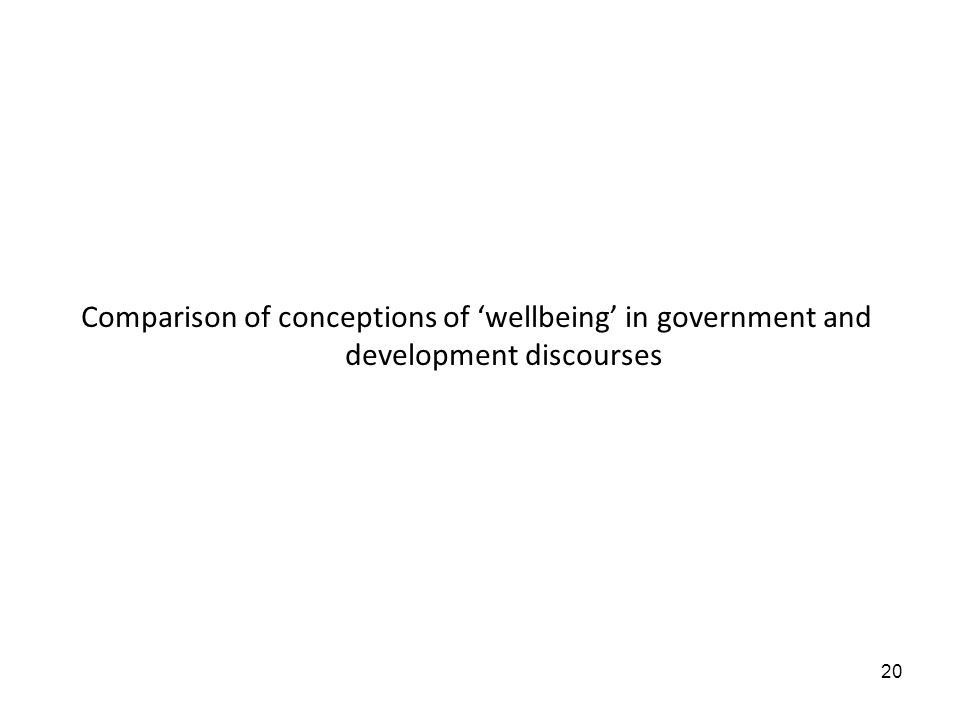 20 Comparison of conceptions of wellbeing in government and development discourses
