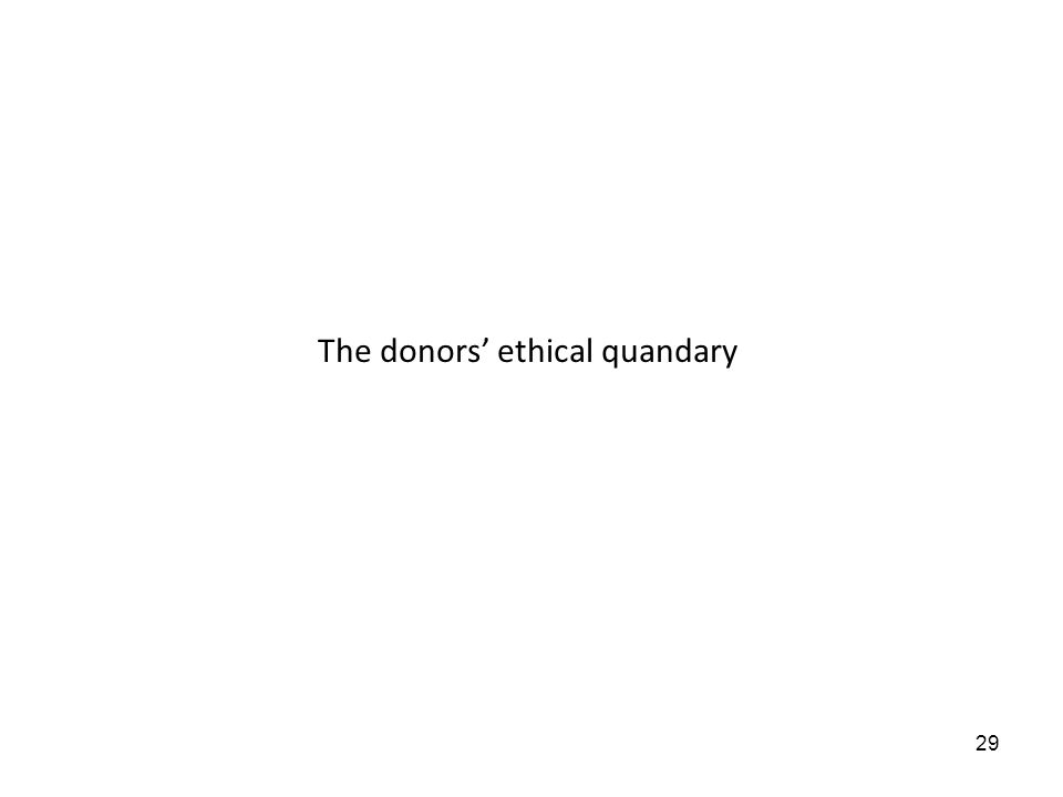 29 The donors ethical quandary