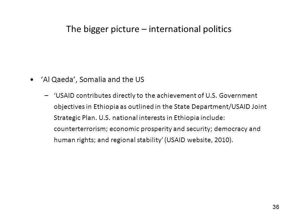 36 The bigger picture – international politics Al Qaeda, Somalia and the US –USAID contributes directly to the achievement of U.S.