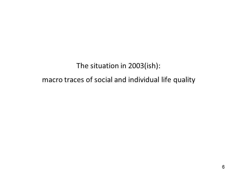 6 The situation in 2003(ish): macro traces of social and individual life quality