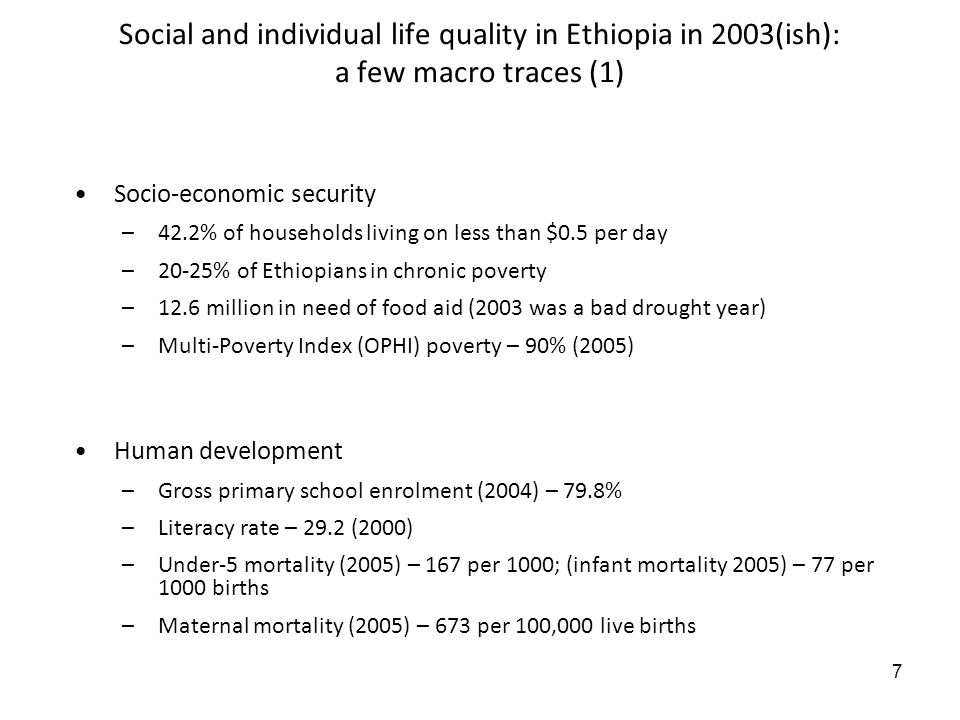 7 Social and individual life quality in Ethiopia in 2003(ish): a few macro traces (1) Socio-economic security –42.2% of households living on less than