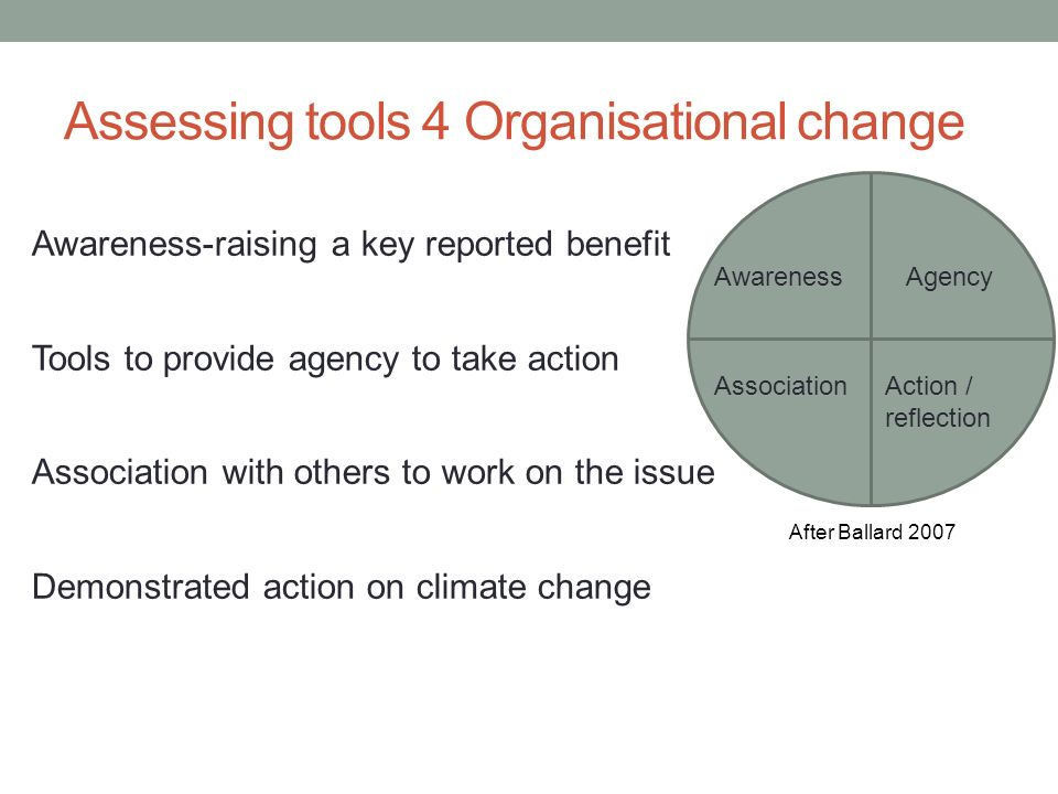 Assessing tools 4 Organisational change Awareness-raising a key reported benefit Tools to provide agency to take action Association with others to work on the issue Demonstrated action on climate change Awareness Association Agency Action / reflection After Ballard 2007
