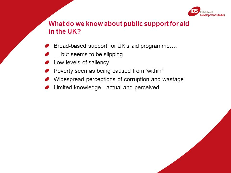 What do we know about public support for aid in the UK.