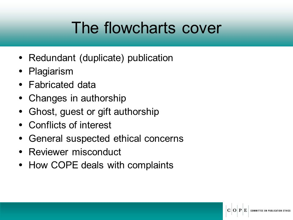 The flowcharts cover Redundant (duplicate) publication Plagiarism Fabricated data Changes in authorship Ghost, guest or gift authorship Conflicts of i