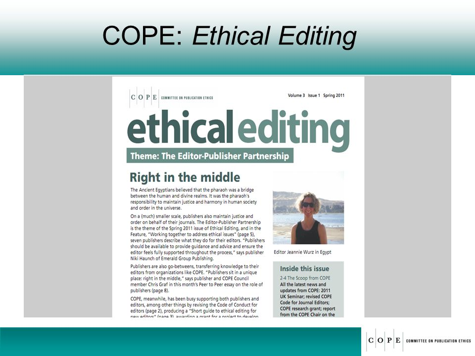 COPE: Ethical Editing