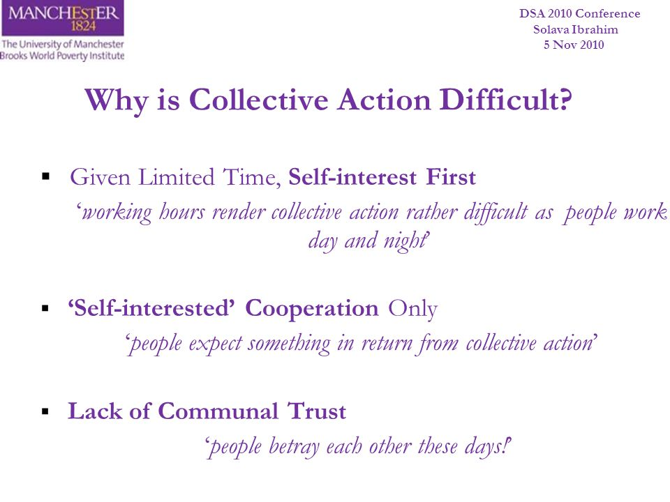 DSA 2010 Conference Solava Ibrahim 5 Nov 2010 Why is Collective Action Difficult? Given Limited Time, Self-interest First working hours render collect
