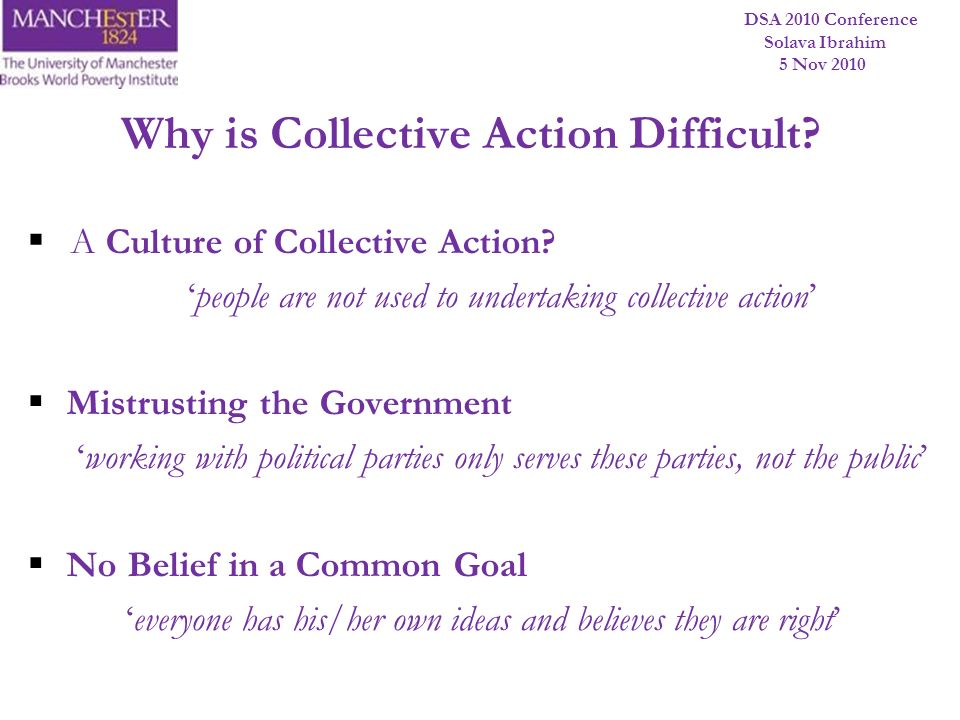 DSA 2010 Conference Solava Ibrahim 5 Nov 2010 Why is Collective Action Difficult? A Culture of Collective Action? people are not used to undertaking c