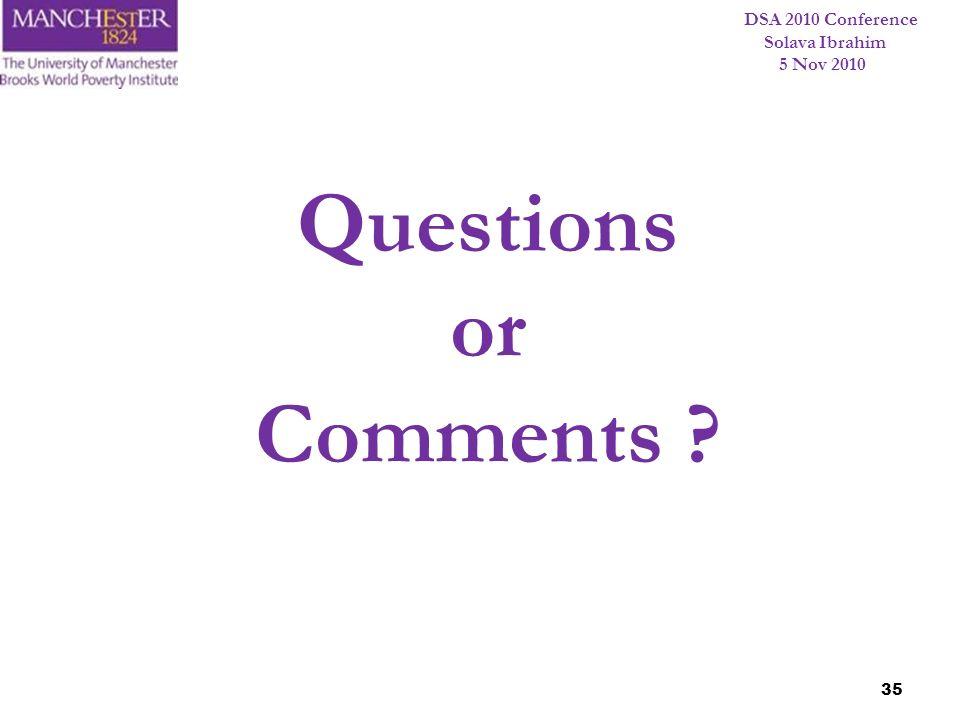 DSA 2010 Conference Solava Ibrahim 5 Nov 2010 35 Questions or Comments ?
