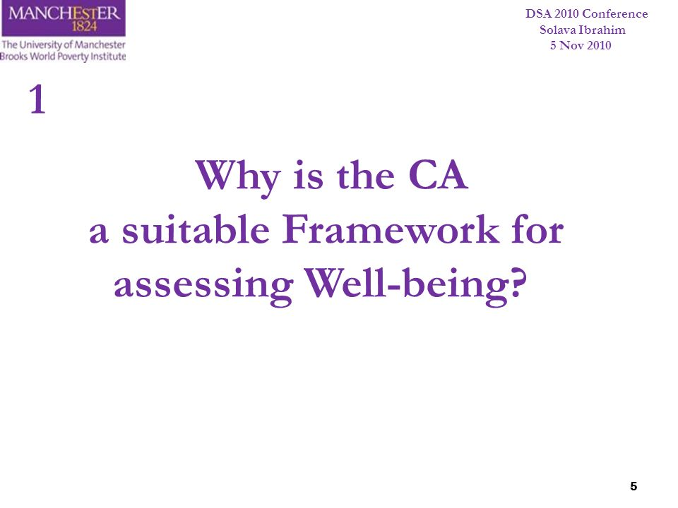 DSA 2010 Conference Solava Ibrahim 5 Nov 2010 5 Why is the CA a suitable Framework for assessing Well-being? 1