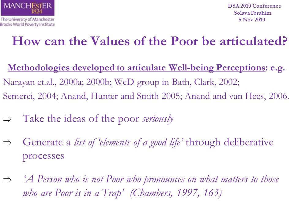 DSA 2010 Conference Solava Ibrahim 5 Nov 2010 Methodologies developed to articulate Well-being Perceptions: e.g. Narayan et.al., 2000a; 2000b; WeD gro
