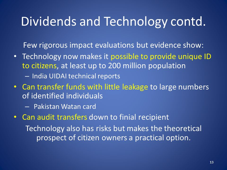 Dividends and Technology contd.