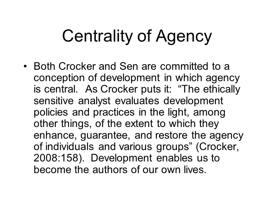 How To Operationalise Agency.