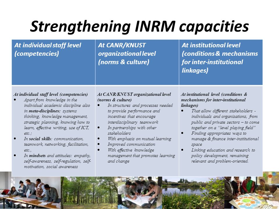 Strengthening INRM capacities At individual staff level (competencies) At CANR/KNUST organizational level (norms & culture) At institutional level (co