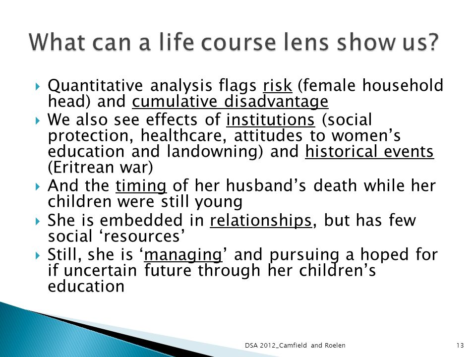 Quantitative analysis flags risk (female household head) and cumulative disadvantage We also see effects of institutions (social protection, healthcare, attitudes to womens education and landowning) and historical events (Eritrean war) And the timing of her husbands death while her children were still young She is embedded in relationships, but has few social resources Still, she is managing and pursuing a hoped for if uncertain future through her childrens education DSA 2012_Camfield and Roelen13