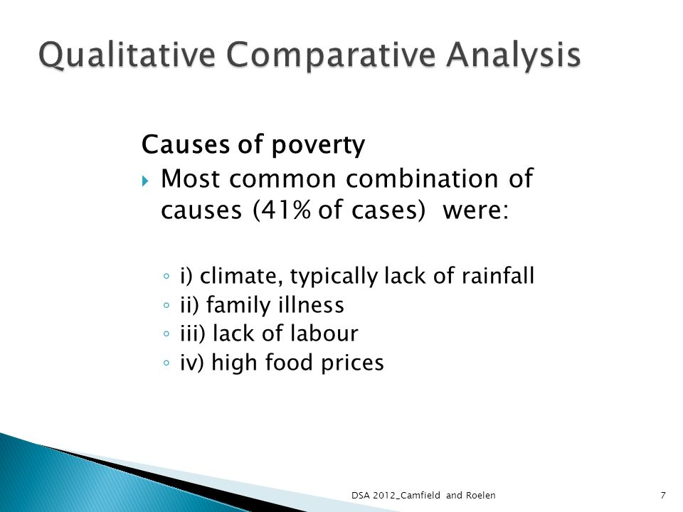Causes of poverty Most common combination of causes (41% of cases) were: i) climate, typically lack of rainfall ii) family illness iii) lack of labour iv) high food prices 7DSA 2012_Camfield and Roelen