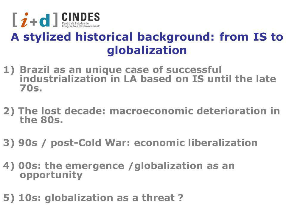A stylized historical background: from IS to globalization 1)Brazil as an unique case of successful industrialization in LA based on IS until the late 70s.