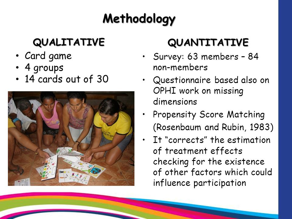 MethodologyQUALITATIVE QUANTITATIVE Survey: 63 members – 84 non-members Questionnaire based also on OPHI work on missing dimensions Propensity Score Matching (Rosenbaum and Rubin, 1983) It corrects the estimation of treatment effects checking for the existence of other factors which could influence participation Card game 4 groups 14 cards out of 30