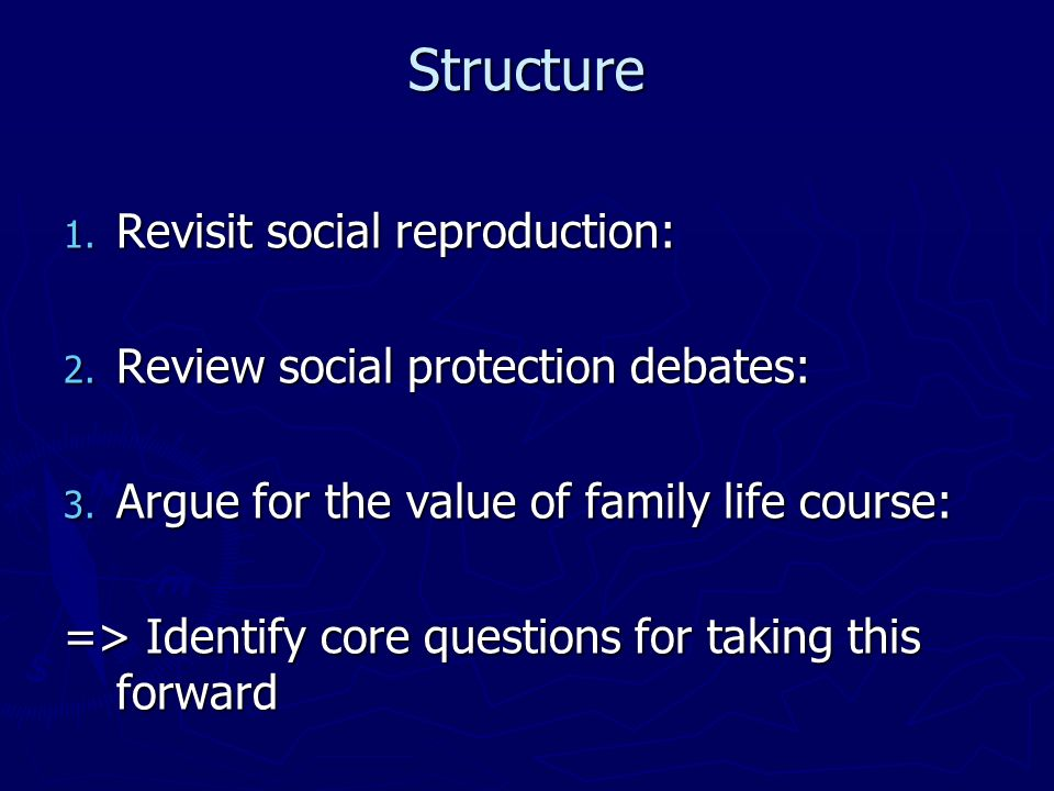 Structure 1. Revisit social reproduction: 2. Review social protection debates: 3.