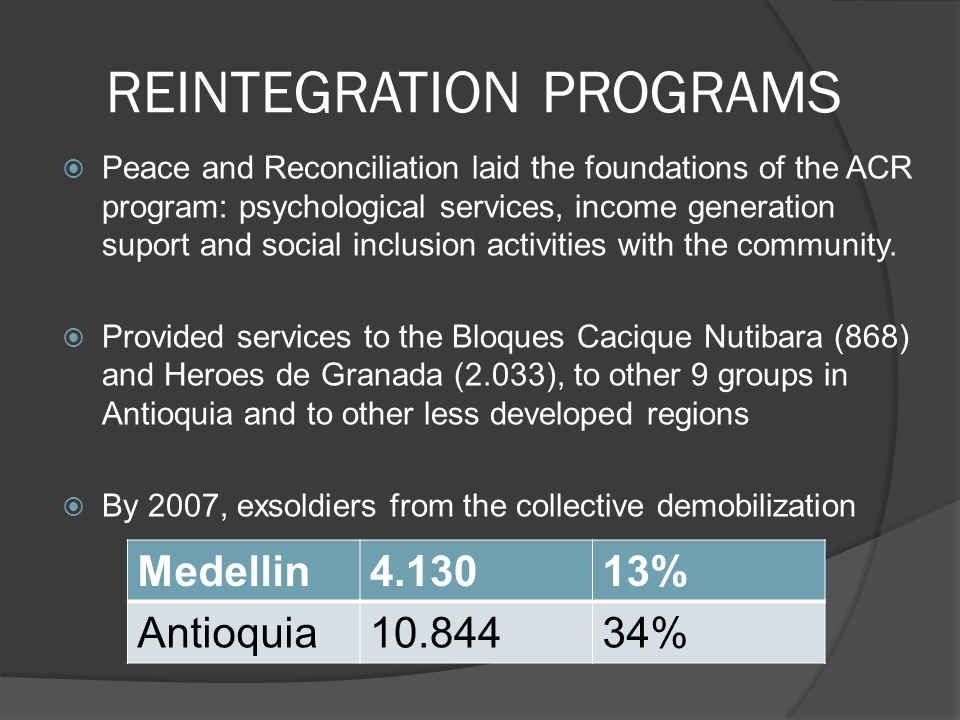 REINTEGRATION PROGRAMS Peace and Reconciliation laid the foundations of the ACR program: psychological services, income generation suport and social inclusion activities with the community.