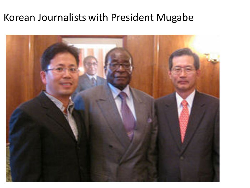 Korean Journalists with President Mugabe