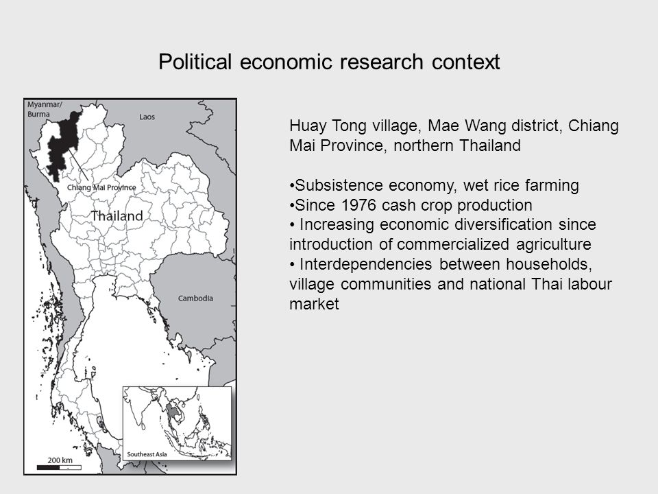Political economic research context Huay Tong village, Mae Wang district, Chiang Mai Province, northern Thailand Subsistence economy, wet rice farming Since 1976 cash crop production Increasing economic diversification since introduction of commercialized agriculture Interdependencies between households, village communities and national Thai labour market