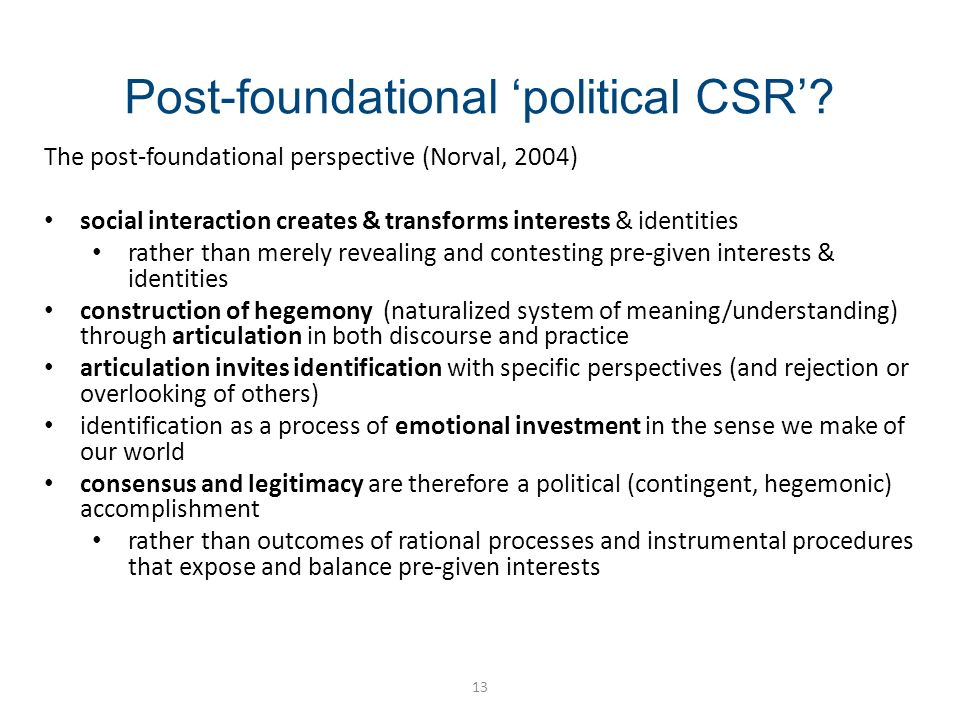 Post-foundational political CSR.