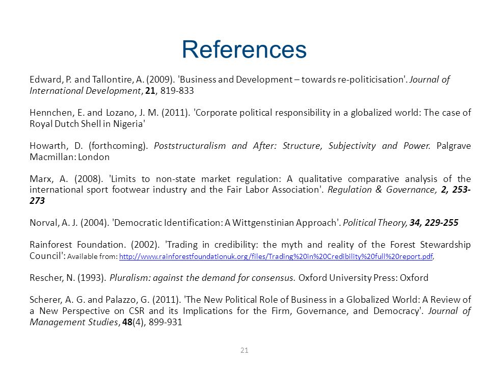 References 21 Edward, P. and Tallontire, A. (2009).