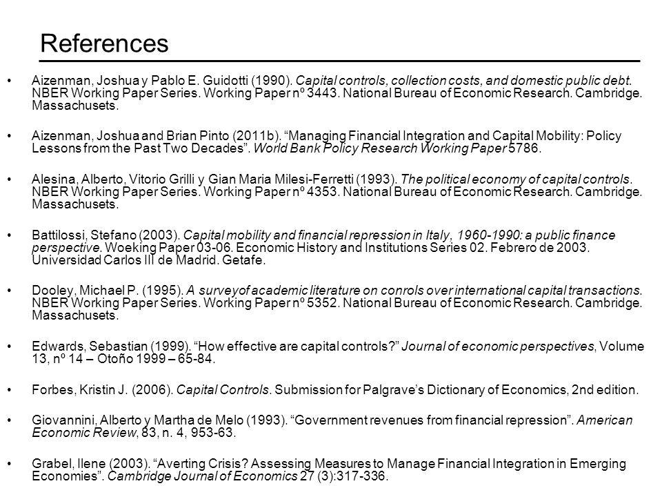 References Aizenman, Joshua y Pablo E. Guidotti (1990).