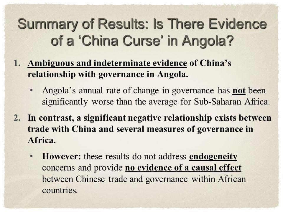 Summary of Results: Is There Evidence of a China Curse in Angola.