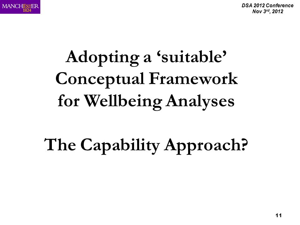 DSA 2012 Conference Nov 3 rd, 2012 11 Adopting a suitable Conceptual Framework for Wellbeing Analyses The Capability Approach