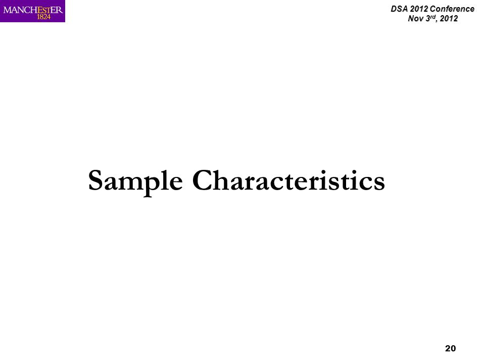 DSA 2012 Conference Nov 3 rd, 2012 20 Sample Characteristics