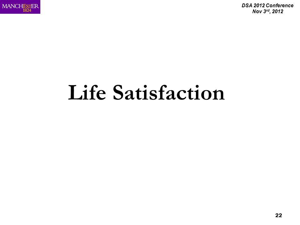 DSA 2012 Conference Nov 3 rd, 2012 22 Life Satisfaction